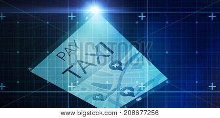 Blue matrix against vector image of pay taxi text with map