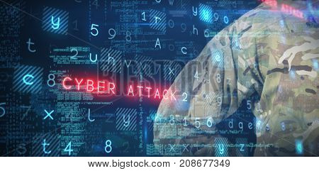 Mid section of military soldier against virus background