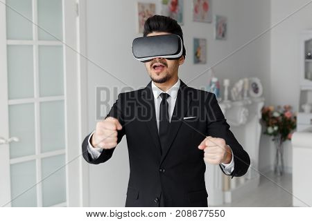 Male Person In Suit And Virtual Glasses