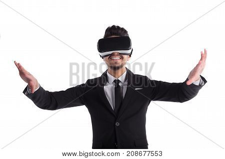 Young Man Smiling In Suit And 3D Glasses Isolated On White Background
