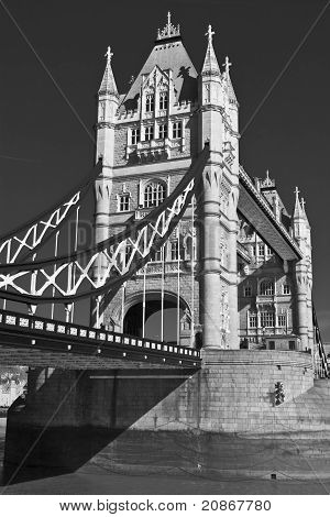 Tower bridge, London; black and white
