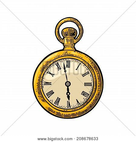Antique pocket watch. Vintage vector color engraving illustration for info graphic, poster, web. Isolated on white background.
