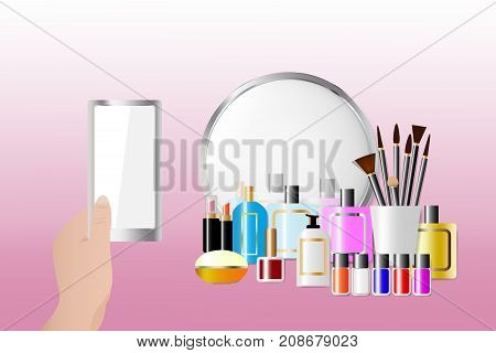 Cosmetic accessories standing in front of a mirror on the pink background. Female hand is holding a smart phone with empty screen ready for your text. All potential trademarks are removed.