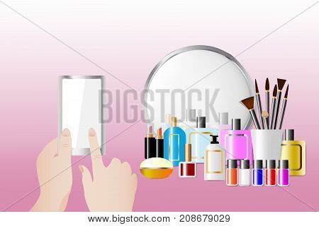 Cosmetic accessories standing in front of a mirror on the pink background. Female hands are holding a smart phone and touching empty screen ready for your text. All potential trademarks are removed.