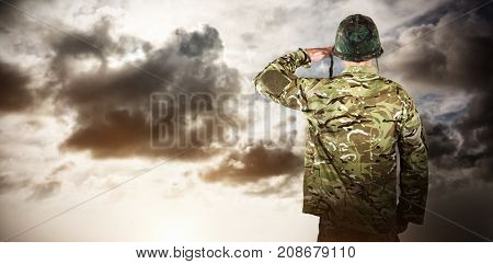 Rear view of military soldier saluting against blue sky with white clouds