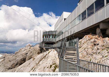 Ramsau Am Dachstein, Austria - August 17: People Hiking Around Dachstein Hunerkogel Mountain Station