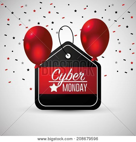 cyber monday emblem with balloons decoration vector illustration