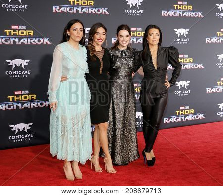 Chloe Bennet, Elizabeth Henstridge, Natalia Cordova-Buckley and Ming-Na Wen at the World premiere of 'Thor: Ragnarok' held at the El Capitan Theatre in Hollywood, USA on October 10, 2017.