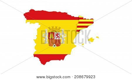 Close Up On Spain And Catalunya  Flag With Border On White Background