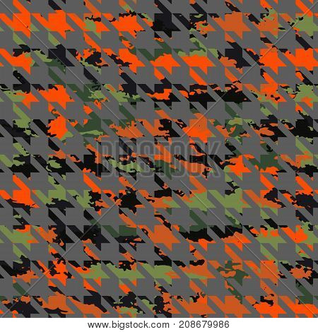 Pattern chicken feet on camouflage background-vector illustration. Ornament of crows feet