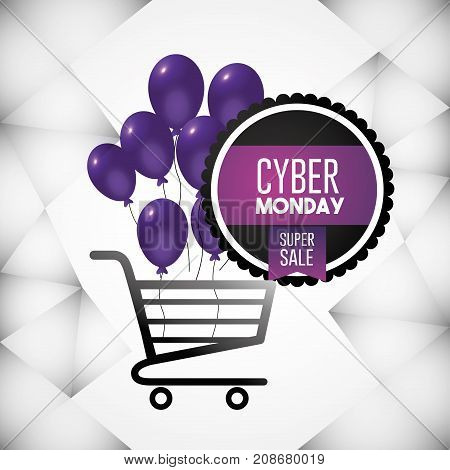 cyber monday offer with shopping car and balloons decoration vector illustration