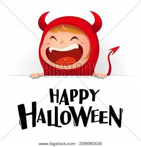 Happy Halloween. Red devil demon with big signboard.