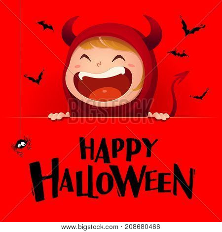 Happy Halloween. Red devil demon with big signboard. Red background.