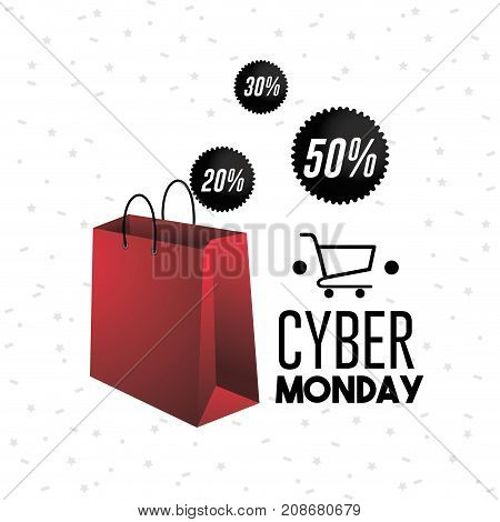 cyber monday offer sale with shopping bag decoration vector illustration