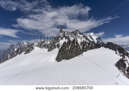 View of the summit of Dente del Gigante in the Mont Blanc massif.