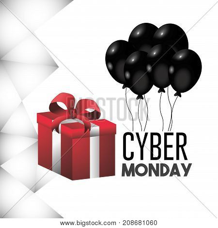 cyber monday offer with promotion gift vector illustration