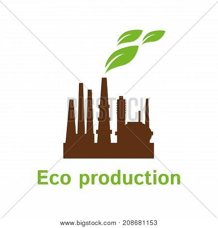 Vector logo template for eco factory. Creative flat logotype. Design element for banners web. Bio energy. Alternative technology. EPS10.