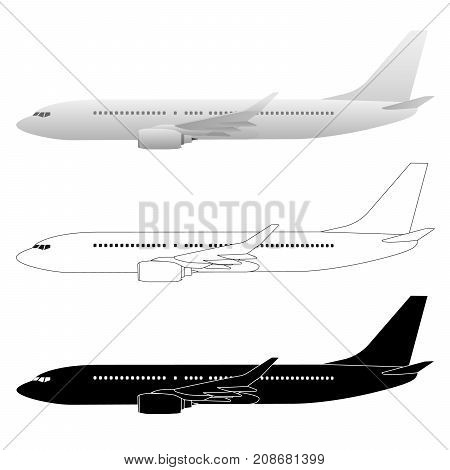 Large Commercial Airliner Passenger Jet Vector Illustrations
