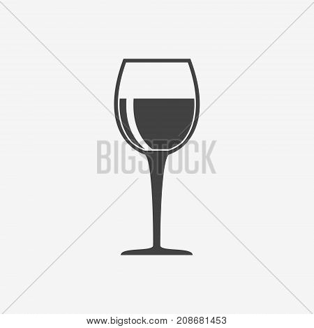 Glass of wine monochrome icon on white background. Goblet vector illustration.