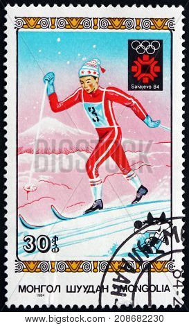 MONGOLIA - CIRCA 1984: a stamp printed in Mongolia shows Cross-country Skiing 1984 Winter Olympics Sarajevo circa 1984