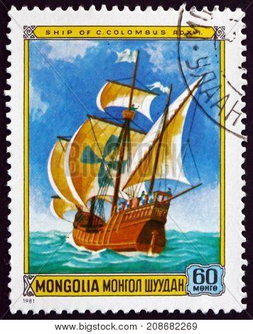 MONGOLIA - CIRCA 1981: a stamp printed in Mongolia shows Santa Maria Sailing Ship circa 1981