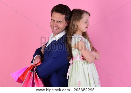 Schoolgirl And Dad Do Shopping. Daughter And Dad Buy Presents