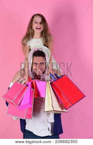 Schoolgirl And Father Do Shopping And Have Fun. Shopping, Presents