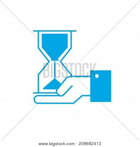 silhouette businessman with housglass object in the palm hand vector illustration