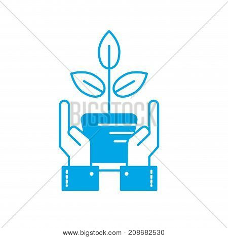 silhouette ecology plant with flowerpot and leaves with hands vector illustration