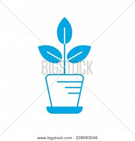 silhouette natural plant with leaves inside flowerpot vector illustration
