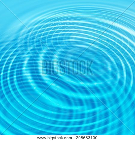 Abstract blue background with concentric water ripples
