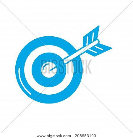 silhouette dart target board to strategy competition vector illustration