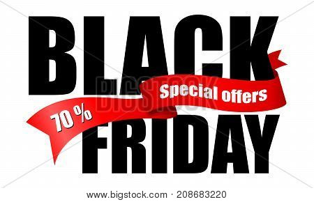 Inscription Black Friday and special offers on red ribbon