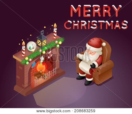 Isometric 3d Santa Claus Read Gift List Sit Armchair Character Icon Holiday Fireplace Cartoon Background Greeting Card Template Poster Vector illustration