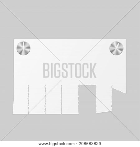 Ad paper notice attached with thumbtacks with gray background. Vector illustration