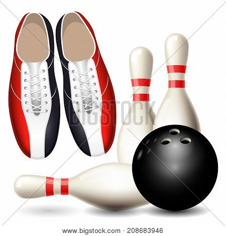 Bowling shoes skittles and ball - bowling championship poster