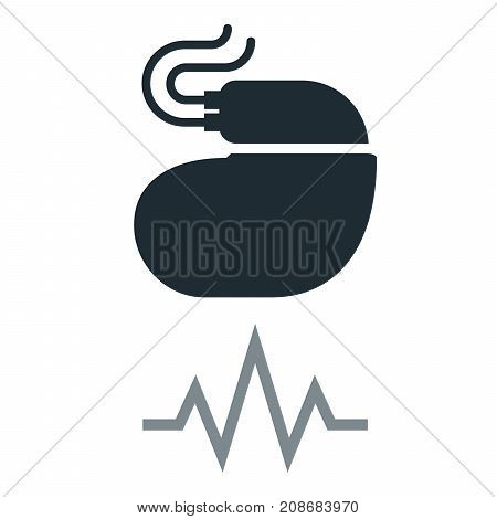 Cardiac pacemaker simple icon with pulse tracing line