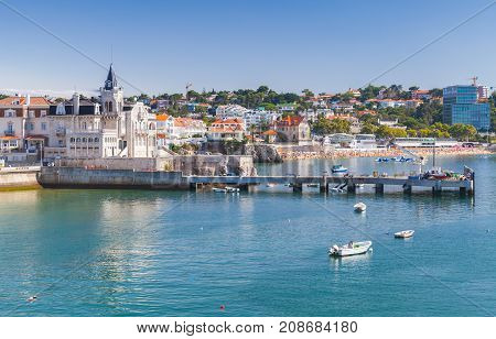 Seaside Cityscape Of Cascais In Summer Day