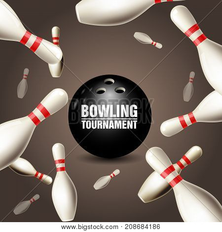 Bowling tournament invitation card - frame of floating skittles and ball