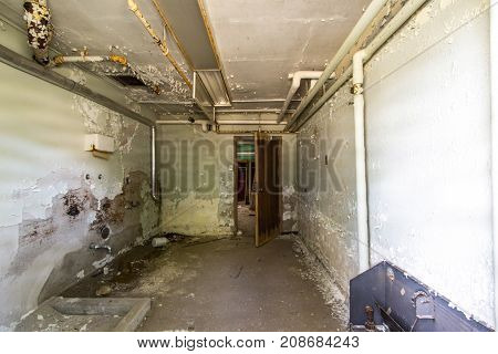 Traverse City, Michigan, USA - October 1, 2017: Interior of the abandoned Traverse City State Hospital insane asylum. Portions of the campus have been renovated and others remain abandoned.