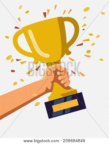 Gold trophy hold in hand. Vector illustration