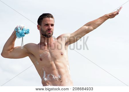 Man With Bristle Pretending To Fly As Superhero