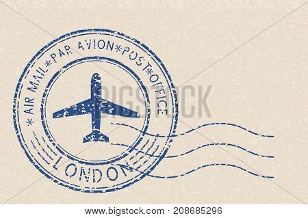Blue air mail postmark with LONDON title on beige background. Vector illustration