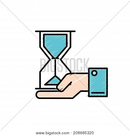 businessman with housglass object in the palm hand vector illustration