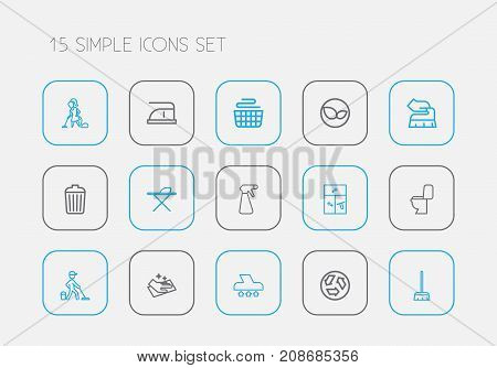 Set Of 15 Editable Hygiene Outline Icons. Includes Symbols Such As Wiping, Lavatory, Woman And More