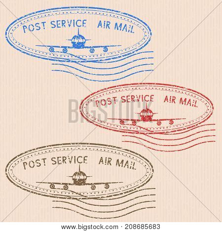 Post service air mail stamp with airplane icon. Colored partially faded postmarks. Vector illustration on beige striped background