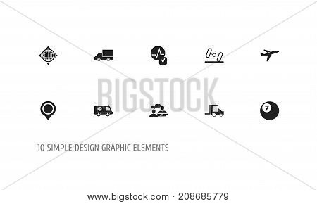 Set Of 10 Editable Complicated Icons. Includes Symbols Such As Camion, Police Vehicle, Position And More