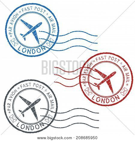 Postal colored stamps with LONDON title. Round postmarks. Vector illustration isolated on white background