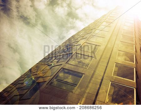 Wide angle shot of an office building in London vintage tone stylized