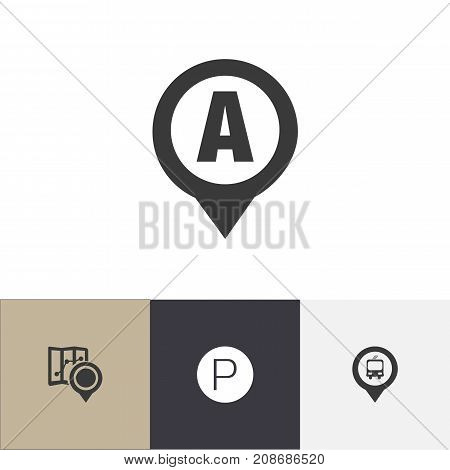 Set Of 4 Editable Map Icons. Includes Symbols Such As Road Sign, Gps, Car Location And More